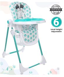 Babyhug Fine Dine Highchair With 6 Adjustable Heights & 3 Level Seat Recline - Sea Green White