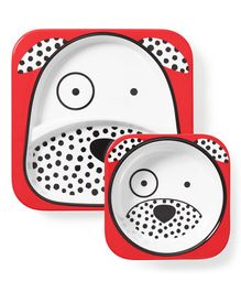 Skip Hop Melamine Feeding Plate With Bowl Dalmation Puppy Design - White Red