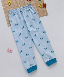 Swanky Me Biowash Cat Face Print Pants - Light Blue
