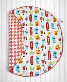 SilverLinen Quilted Cotton Playmat Cum Storage Bag Monster Print - Red