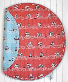 SilverLinen Quilted Cotton Playmat Cum Storage Bag Sailing Ship Print - Red Blue