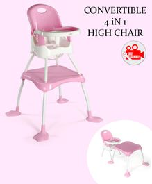 Babyhug Urban 4 in 1 High Chair With 3 Point Safety Harness And Anti-Slip Base - Pink