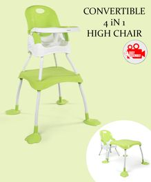 Babyhug Urban 4 in 1 High Chair With 3 Point Safety Harness And Anti-Slip Base - Light Green