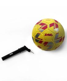 Syn6 Excellent Match Football Yellow With pump, Size 5, Hand Stitched Ball Laminated with 3 Layers Of Polyester Cotton