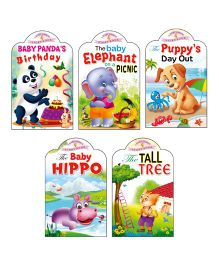 Sawan Story Books Baby Animals Series Panda Elephant Puppy Hippo Kitty Set of 5 - English