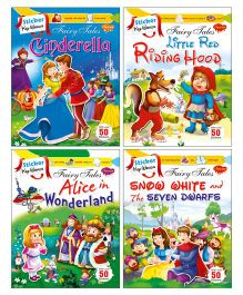 Sawan Sticker Activity & Story Books Cindrella Little Red Riding Hood Alice in Wonderland Snow White Set of 4 - English