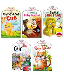 Sawan Story Books Baby Animals Series Cub Squirrel Dino Calf Mouse Set of 5 - English
