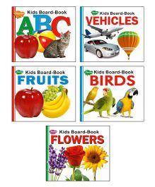 Sawan Board Books Alphabets Fruits Birds Flowers Set of 5 - English