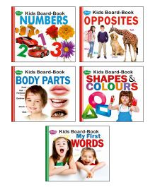 Sawan Board Books Numbers Body Parts Opposites Shapes & Colours Words Set of 5 - English