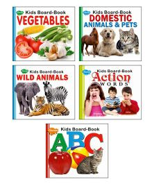 Sawan Vegetables Domestic Animals Wild Animals Action Words Alphabets Board Books Set of 5 - English