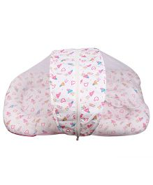 Little Hug Mattress Set with Mosquito Net Bear Print - White Pink