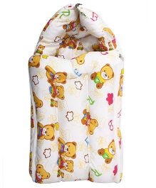 Little Hug Sleeping Bag Teddy Bear Print - White