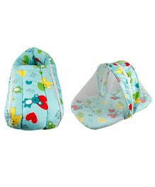 Little Hug Mattress Set With Mosquito Net & Sleeping Bag Combo Set Bear Print - Green