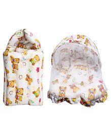 Little Hug Mattress Set With Mosquito Net & Sleeping Bag Combo Set Teddy Bear Print - White