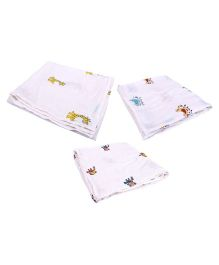 Mom's Home Organic Cotton Muslin Swaddle Cum Bath Towel Printed Pack of 3 - White