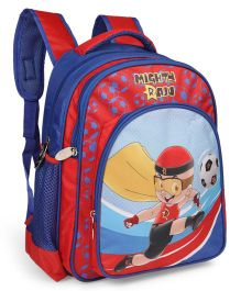 Mighty Raju School Bag Football Print Blue & Red - 16 inches