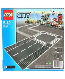 Lego City Straight And Crossroad - Multi Color-2 Pieces-7280