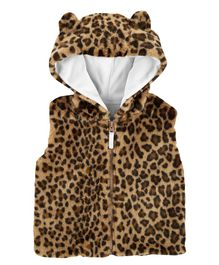 Carter's Faux Fur Cheetah Vest Jacket - Brown