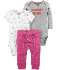 Carter's 3 Piece Little Character Set - White Pink Grey