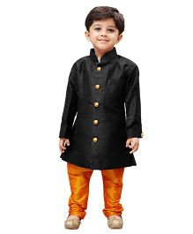 JBN Creation Sherwani & Churidaar Pyjama Set - Black & Saffron