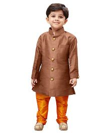 JBN Creation Sherwani  & Churidaar Pyjama Set - Coffee & Saffron