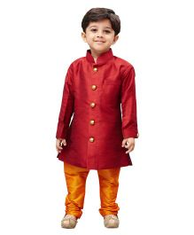 JBN Creation Sherwani & Churidaar Pyjama Set - Maroon & Saffron