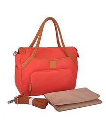 Tiny Cuddle Signature Leather Diaper Bag With Detachable Organizer - Coral