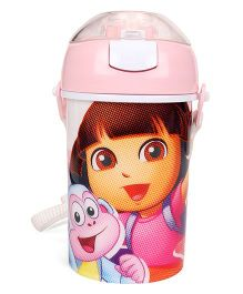 Dora Sipper Water Bottle With Push Button Top Light Pink - 400 ml