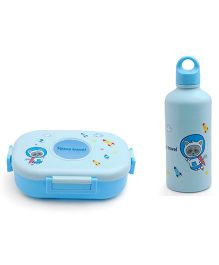 Lunch Box And Fork Cum Spoon With Water Bottle  - Blue