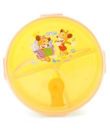 Circular Lunch Box With Spoon Animal Print (Color & Style May Vary)