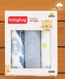 Babyhug Interlock Cotton Wrapper Pack of 3 - Green & Blue