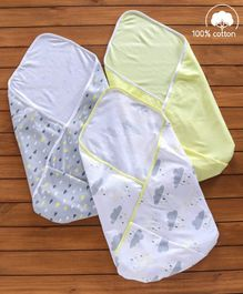 Babyhug Interlock Cotton Wrapper Pack of 3 - Yellow & Grey
