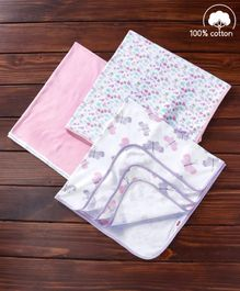 Babyhug Interlock Cotton Wrapper Pack of 3 - Pink And Purple