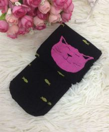 Flaunt Chic Cat & Fish Print Stockings - Black