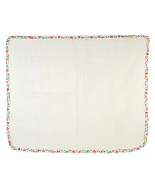 Yogis Baby Organic Swaddle Cloth - White & Multi Colour