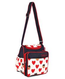 Babyhug Vogue Denim Diaper Bag Hearts - Navy & Red