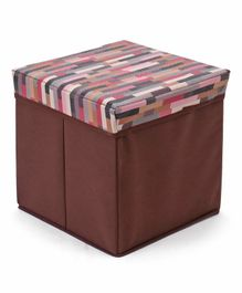 Babyhug Sto-Sit Foldable Storage Box Cum Stool - Brown & Multicolor Stripes
