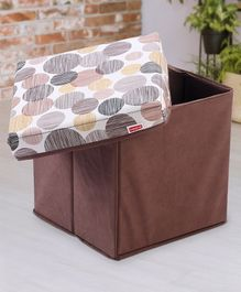 Babyhug Sto-Sit Foldable Storage Box Cum Stool - Brown & Circle