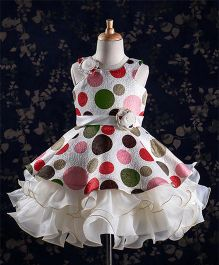 Bluebell Polka Dots Party Wear Layered Frocks - Off White