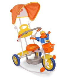 Mee Mee 2 In 1 Baby Canopy Tricycle With Rocker Function And Easy-To-Push Handle Orange