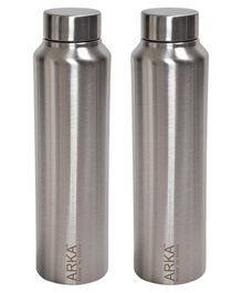 ARKA Stainless Steel Water Bottle Silver Pack of 2 - 1000 ml each