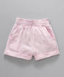 Fox Baby Shorts With Turn Up Hem & Pockets - Light Pink