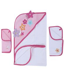 Abracadabra Hooded Towel And Face Towels Star Applique - Pack Of Three