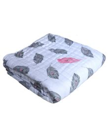 Chotto Dreamy Tales Cotton Muslin Baby Blanket Leaf Print - White & Grey