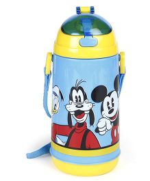 Disney Sipper Water Bottle Mickey Mouse & Friends Print Yellow Blue - 600 ml