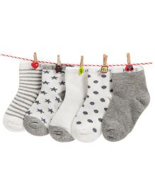 Footprints Super Soft Organic Cotton Socks Pack Of 5 - Grey
