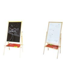 Emob Wooden 2 In 1 Foldable Drawing And Writing Board - Multicolour