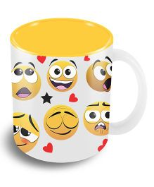 The Crazy Me Mixed Emotions Emoticons Ceramic Coffee Mug Yellow & White - 325 ml