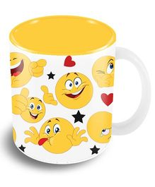 The Crazy Me Happy Faces Emoticons Ceramic Coffee Mug Yellow White - 325 ml