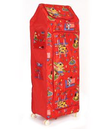 Kids Zone Multi Purpose Folding Almirah Puppy Print - Multi Colour Red